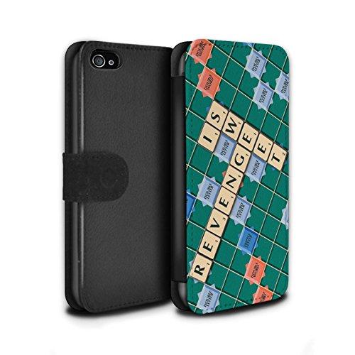 Stuff4 Coque/Etui/Housse Cuir PU Case/Cover pour Apple iPhone 4/4S / Lutte Incendie Design / Mots de Scrabble Collection Douce Vengeance