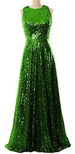MACloth Women A Line Sequin Long Bridesmaid Dress Evening Formal Party Gown Grün