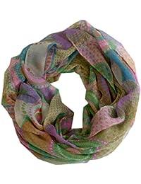 Kaleidoloop - mehrfarbiger Rundschal Ethno Loopschal mit bunten KALEIDOSKOP Kreisen Punkten Kaleidoscope Pattern helle dunkle Farben