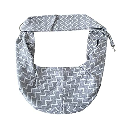 PENIVO Pet Dogs Sling Carrier Bag Grey Striped Soft Comfortable Hands-free Adjustable Shoulder Bag for Dog / Cat Bicycle… 3