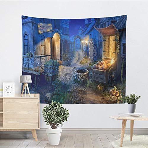 QLIYT Wandteppiche Kürbis Halloween Tapisserie Blau Charmante Stadt Wandbehang Wandteppiche Halloween Party Decor Home Wohnzimmer Wand Handtuch (Party-stadt Halloween Für)