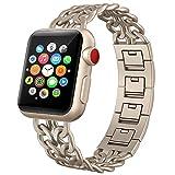 PUGO TOP Armband für Apple Watch, hochwertiges Edelstahlarmband im Cowboy-Stil, für alle Modelle der Apple Watch Serien 4/3/2/1, 42mm, 44mm Royal Gold
