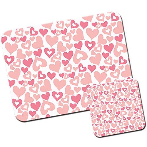 Baby Pink Sterne Herzen Quadrate Kreise/Mauspad und Untersetzer Set Pretty Pink Heart Madness (Quadrat-stern)