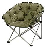 Yuan Yuan Moon Chair-Army Green Kreative Lazy Suede Fabric Folding Sonnenliegen Single Recliners Schlafsofa Runde Stühle mit Rückenlehne Weich gepolsterten Stuhl
