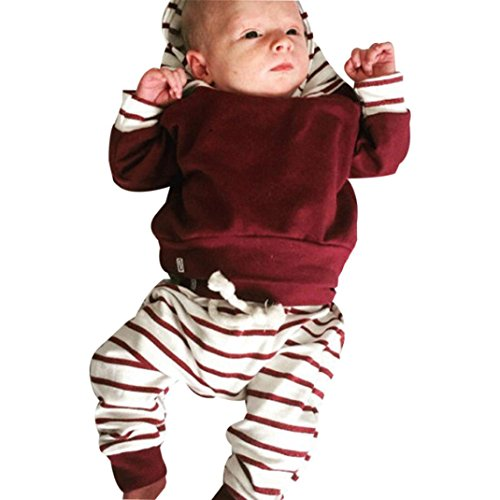 Kleidung Set Baby,Long Sleeve Pullover 2pcs Clothes Set Striped Hoodie Tops+Pants Outfits Weihnachtskleidung Kleinkind Outfits By Dragon (Rot, 3M) (Sleeve Striped Top Long)