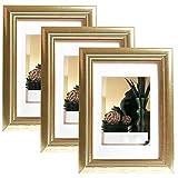 EUGAD 3er Set Bilderrahmen Fotogalerie, 9444-3, Holz Rahmen, mit Glasscheibe, mit Passepartout, Artos Gold, 30x40 cm