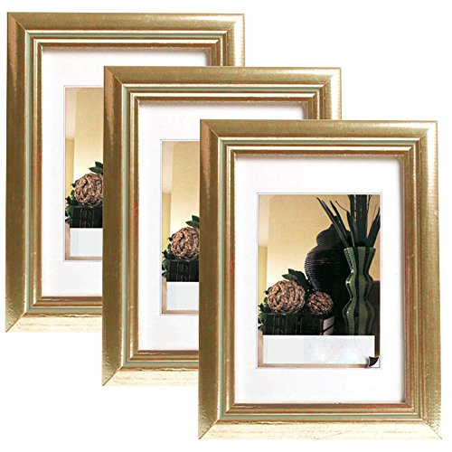 3er Set Bilderrahmen Fotogalerie, 9408-3 , Holz Rahmen , mit Glasscheibe , mit Passepartout, Artos Gold, 10x15 cm (Gold-bilderrahmen 10 X 13)
