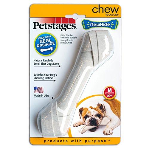 Petstages #30122 Newhide Bone, Kauspielzeug, Resistentes Spielzeug für mittelgroße Hunde, Knochengröße M - Mittelgroße Knochen Für Hund Hunde