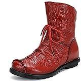 SAGUARO Damen Winter Stiefeletten Wasserdicht Weiches Leder Stiefel Damenstiefel Outdoor Leisure Winterstiefel Vintage Schuhe, Rot 41