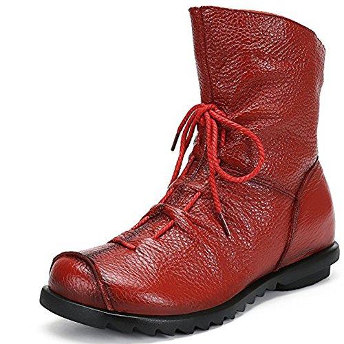 Largeshop Winter Stiefeletten Damen Flache Boots Weiche Echtes Leder Schlupfstiefel Frauen Zip Stiefel Wasserdicht (Stiefel Frauen Leder)