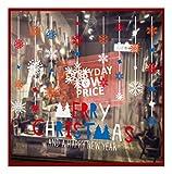 QTZJYLW Weihnachten Wand Sticker Weihnachten Schneeflocke Buchstaben Muster Frohe Weihnachten Wohnzimmer Home Fenster Aus Glas, Dekorative Wand Aufkleber (45 × 60 cm)