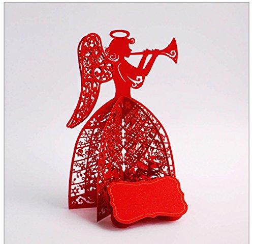 rk Geburtstagskarte Weihnachten Weihnachtskarte rote Spitze Engel Halo Horn Flügel klassischen traditionellen Volkskostüm (Halo Flügel)