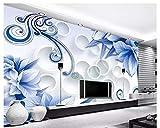 LANYU Fond D'Écran, Fond 3D Salle De Fleurs Bleu Moderne 3D Style Décoratif TV Fond D'Écran Photo De Parede Photo, 280 * 200Cm