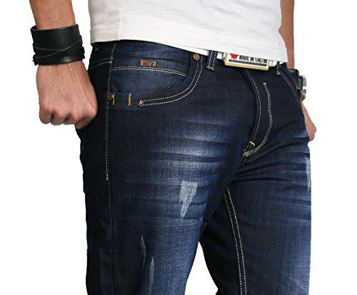Rock Creek Herren Designer Jeans HOSE Dunkelblau Vintage Look Denim RC-2066 Dunkelblau
