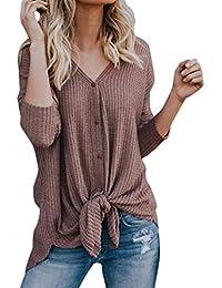 Ropa Camisetas Mujer, Camisas Mujer Elegantes Casual Suéter Mujers Manga Larga Blusas Tops