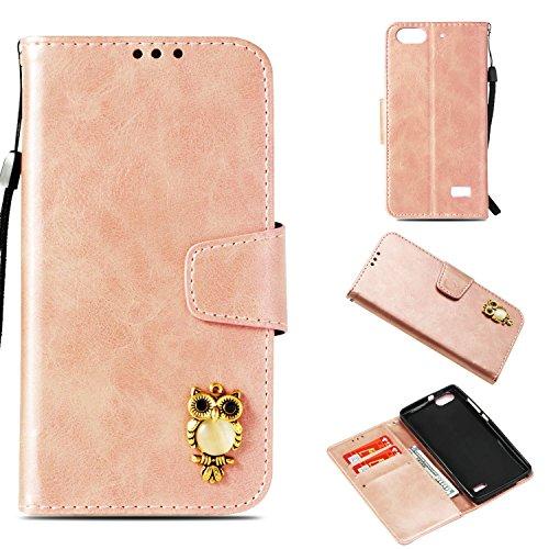 Cozy Hut Huawei Honor 4C Hülle Roségold, Premium PU Leder Flip Wallet Case mit Standfunktion Karteneinschub & Magnetverschluß Schutzhülle für Huawei Honor 4C - Eule Roségold