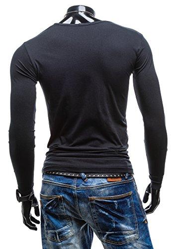 BOLF Herren Longsleeve Sweatshirt GLO-STORY 5549 Schwarz