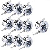 Midore 10 Stück 1 W Mini LED Scheinwerfer mit Transformator Plug-in System Eingebauter Deckeneinbau Einbauleuchte Einbauleuchte (Warmweiß)