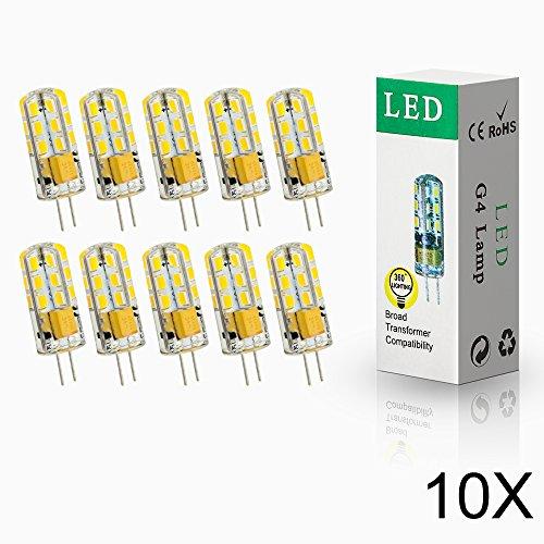 ELINKUME 10x G4 4W LED 24* 2835 SMD Lámpara Bombilla 3000K Luz Blanco Cálido lámpara blanco cálido 12V AC/DC.Ensure Los productos funcionan sin problemas, por favor use el transformador LED