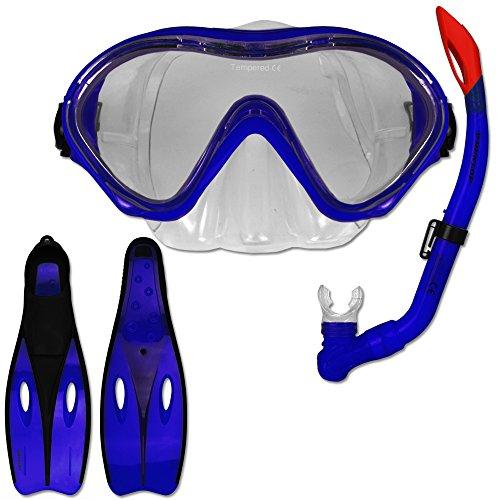 Tauchset Dunlop mit Farb- und Größenauswahl - Schnorchel Set - Tauchermaske - Schnorchel - Schwimmflossen (Blau, 35-37)