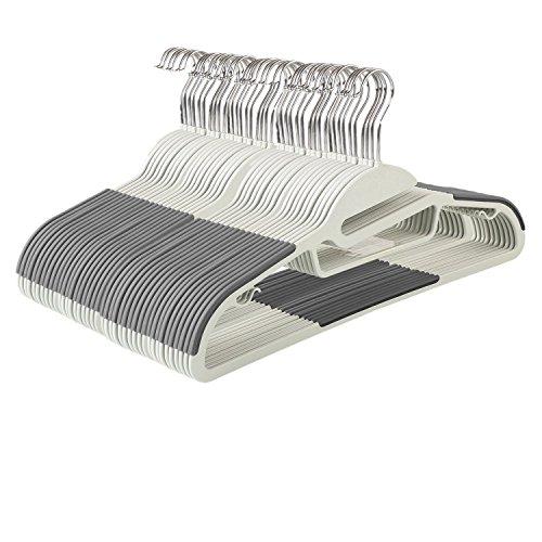 HOMFA 40er Kleiderbügel mit Anti-Rutsch Gummierung für Kleidung Anzug Jacke Krawatte dünn Grau (40er Grau)