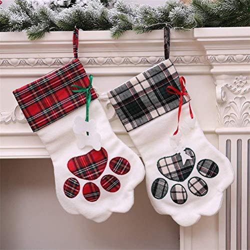 (Favsonhome Hundepfoten-Weihnachtsstrumpf, Bestickt, kariert, Welpen, Pfotenabdruckmotiv, für Weihnachten, Party, Kamin, Dekoration, personalisierbar (2 Stück))