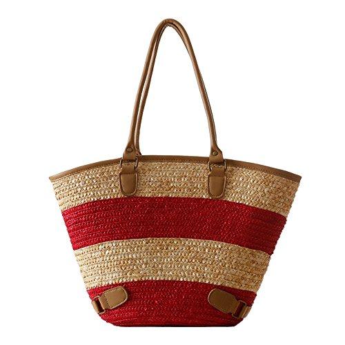 donne ragazze stile pastorale spiaggia banda paglia sacchetto di spalla tote bag Borsa a tracolla Borse a mano, rosso rosso