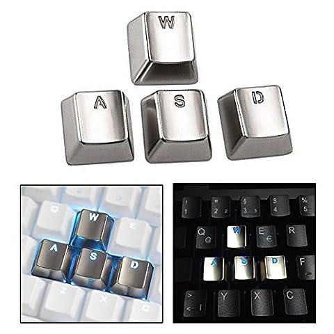 Itian 4 Pfeil Metall Key Cap Abdeckungen für mechanische Tastatur,Galvanik Keyset Zink Transparent Lichtdurchlässig(WASD)