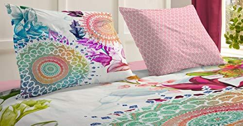 HIP Satin Bettwäsche LYLIANE 6091 Reine Baumwolle, Satin, farbenfrohe Mandalas und prächtige Blumen Blüten - Kissenhülle 40 cm x 80 cm rosé bunt