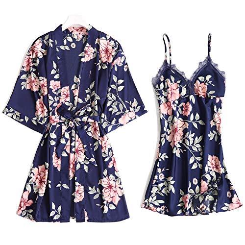 Lachi Damen 2PCS Schlafanzug Set Pyjama Morgenmantel Satinseide Spitzen Nachtwäsche Nachthemd 2 Stück Sexy Blumen Muster Sommer -