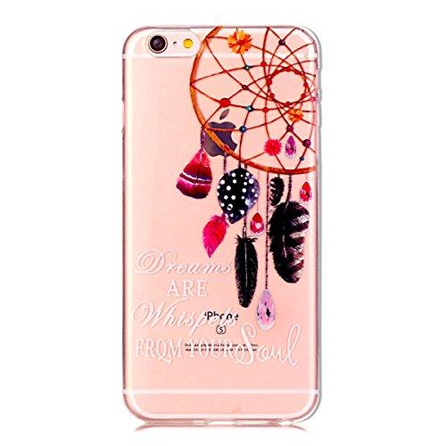 Coque iPhone SE, SpiritSun Housse Etui TPU Silicone Clair Transparente Ultra Mince Souple Douce Coque pour Apple iPhone SE / 5 / 5S + Stylet et Bouchon Anti-Poussière - Prune Fleur Rose Attrape Rêve