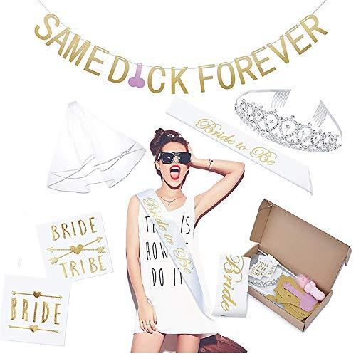 Fiyomet Bachelorette Party Dekorationen Kit Bridal Shower Supplies Braut Schärpe Strass Tiara Banner Schleier Flash Tattoo Se