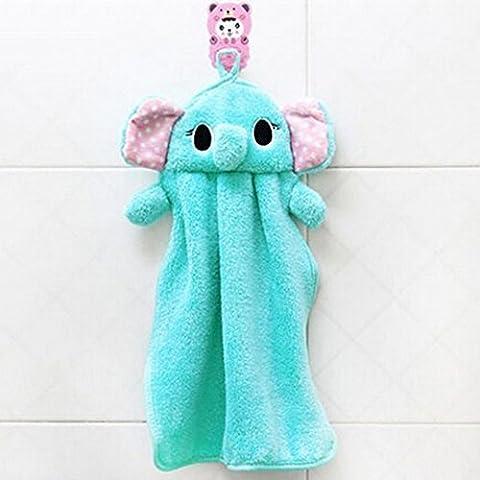 Lovely Nursery Hand Towel Soft Plush Fabric Cartoon Animal Hanging Wipe Bathing Towel (Blue