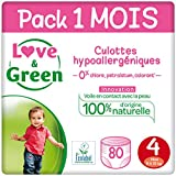 Love & Green Couches Culottes Taille 4 (8 à 15 kg) - Pack 1 mois (80 couches culottes)