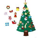 MeeQee Albero di Natale in Feltro Fai da Te con Ornamenti per i Bambini Regali di Natale con 28 Pezzi Decorazioni da Parete con decori di Capodanno