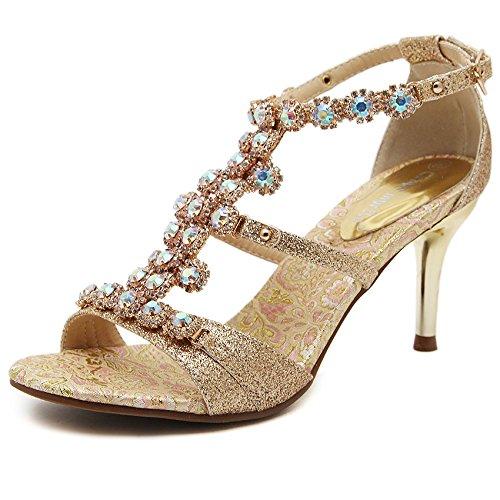 Nvlxie con tacco sandali aperti estate la signora bene vento nazionale con cave di diamanti tempestato d'oro passerella temperamento, gold, 34