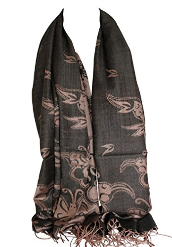 Qualité deux faces impression libre en relief Pashmina sensation Wrap écharpe étole châle Noir & Beige