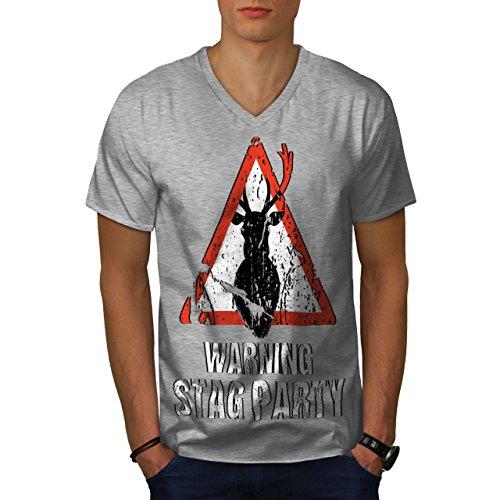 wellcoda Warnung Party Komisch Hirsch MännerV-Ausschnitt T-Shirt Junggeselle Grafikdesign-T-Stück -