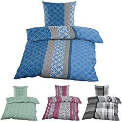 Casa Colori Bettwäsche Bettgarnitur 135x200 Renforce 100% Baumwolle Blau Grau mit Ornamente
