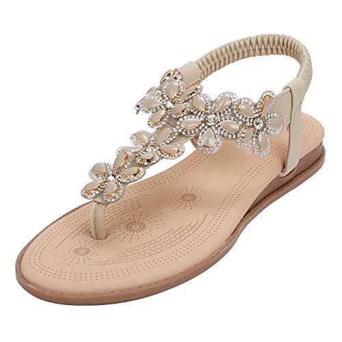 SANMIO Damen Sommer Flach Sandalen, Frauen Bohemian Strass Sandals Sommerschuhe PU Leder Elastischen Strand Schuhe Zehentrenner, Beige, EU 39(Herstellergröße:40)