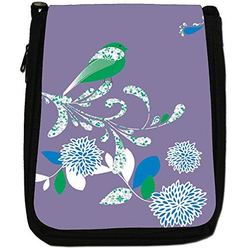 Elegante borsa a tracolla Uccelli su tela fiori media, nero, taglia M viola