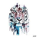 WYUEN 5 hojas coloridas tigre temporales tatuaje adhesivo falso impermeable tatuaje para mujeres niños cuerpo arte 9,8 x 6 cm FA-127
