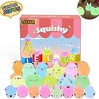 LEEHUR 20 Pcs Squishy Toys, Mixed Mini Soft Squeeze Brillent dans Les Mochi Squishy Soft Cat guérison Fun Toys Enfants Jouet Stress Relief Jouets
