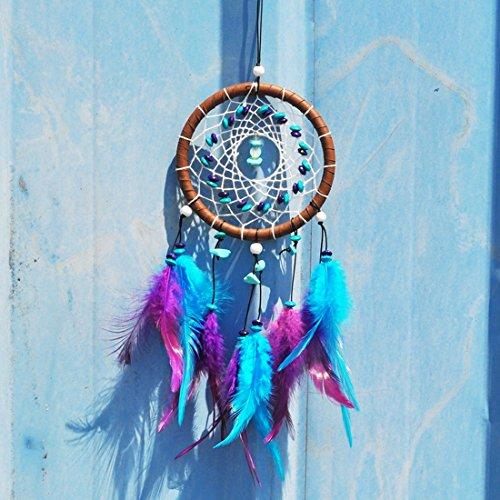 GWELL Traumfänger Dream Catcher Indischen Gute Träume Glücksbringer Hängende Dekoration blau lila