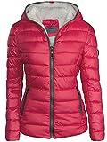 Femme Veste d'hiver doublés court aspect duvet matelassé à capuche Veste de ski chaud New - Rose - Taille M