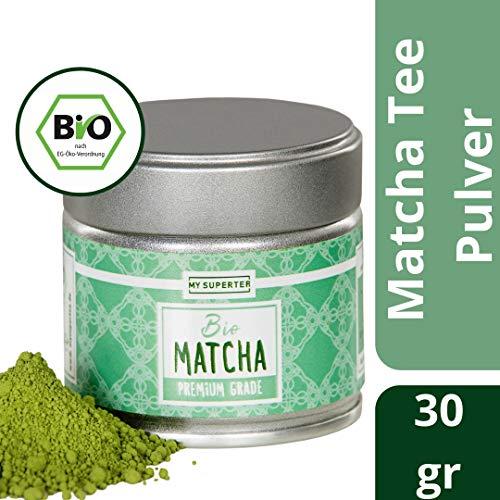 Bio Matcha Pulver - PREMIUM GRADE | original Matcha aus Japan für langanhaltende Energie und hohe Konzentration an Antioxidantien | Mild nussiger Geschmack für Kenner | MY SUPERTEA | 30g