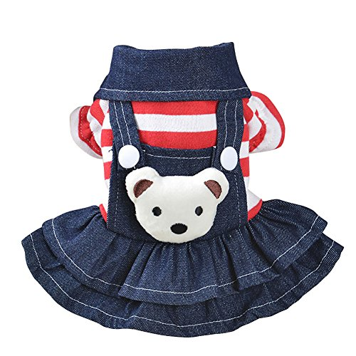 (Kayi Denim Dog Dress/Jumpsuits gestreift Bib Cowboy Kleidung Bear Bib Dog Apparel)