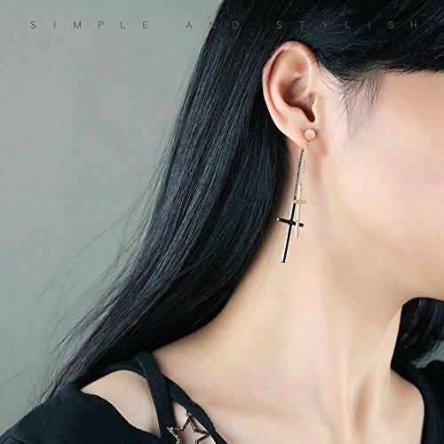 Onefeart Roségold Vergoldet Ohrringe Baumeln für Frauen Mädchen 29x65MM Roségold Doppelt Kreuz-Design