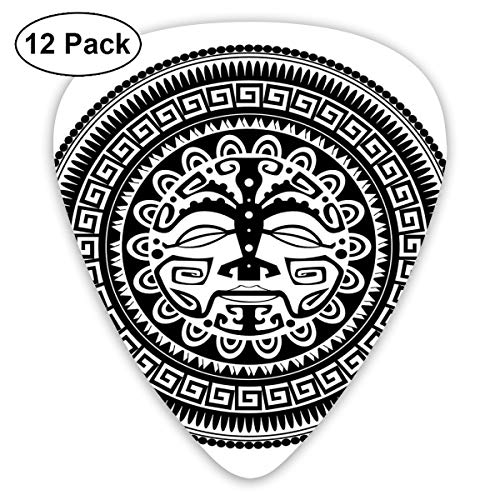 Guitar Picks12pcs Plectrum (0.46mm-0.96mm), Ethnic Oriental Folklore Mask Motif With Swirls And Scales Monochrome,For Your Guitar or Ukulele (Halloween Nails Swirl)