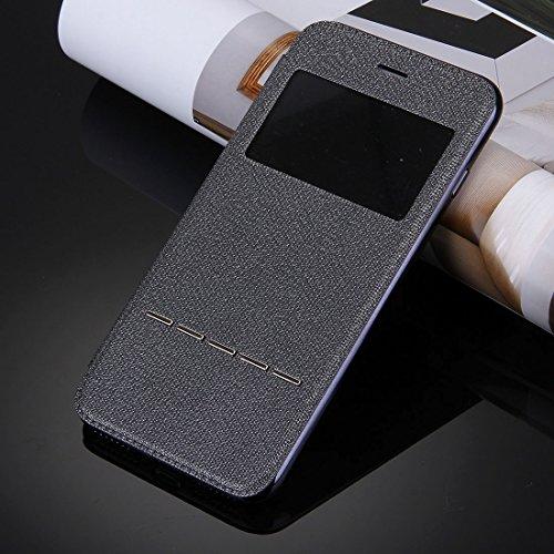 iPhone Case Cover Pour iPhone 7 Cross Texture électrodéposition TPU Back Cover Horizontale Flip étui en cuir avec affichage d'appel ID ( Color : Black ) Black